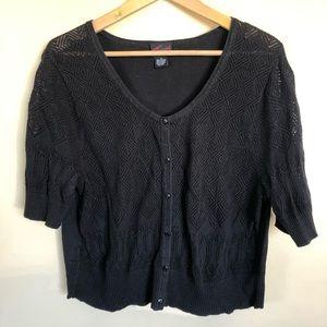 Torrid cropped black 1/2 sleeve cardigan